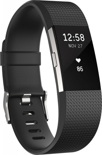 fitbit Charge 2, Black Silver Large