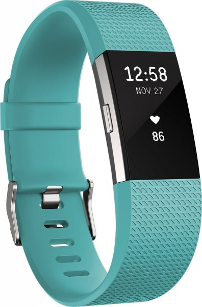 fitbit Charge 2, Teal Silver Large